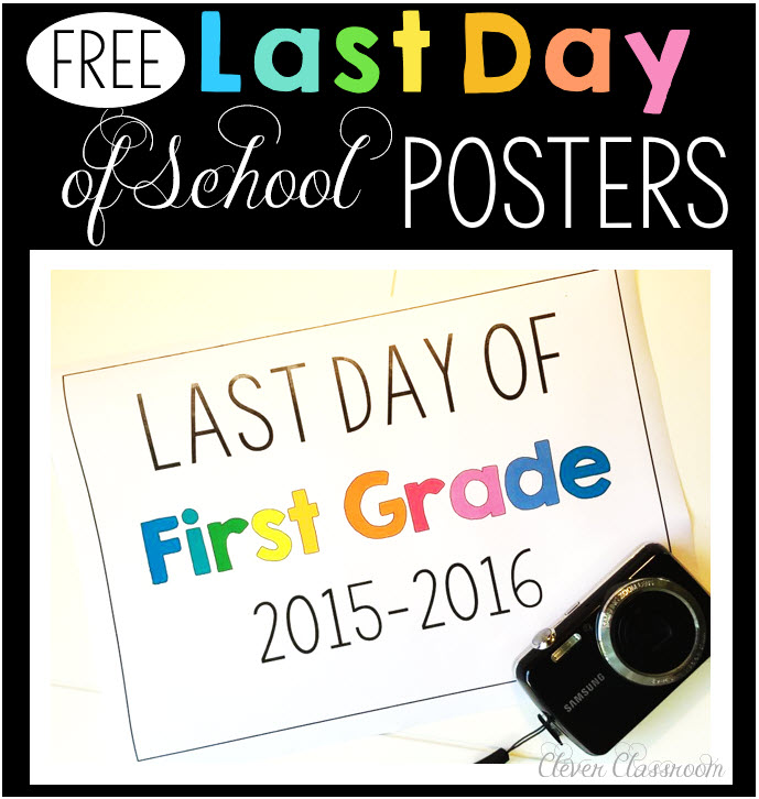 Last day of school photo poster FREEBIE via Clever Classroom end of year