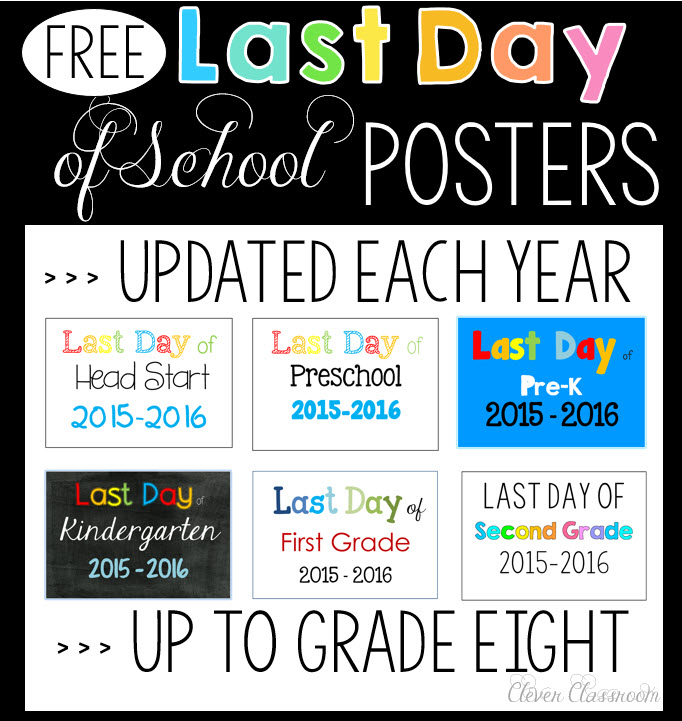 Last day of school photo poster updated every year