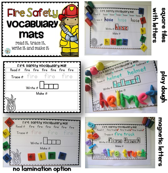 Fire safety week vocabulary centers