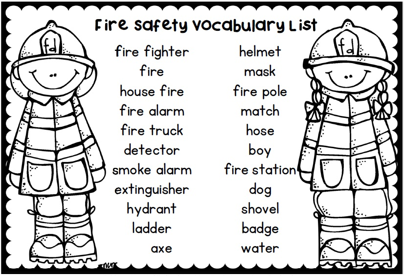 Fire safety and awareness vocabulary for October word work