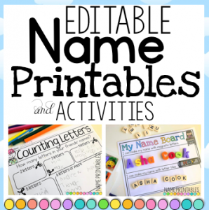 Name Writing Printables and Activities EDITABLE