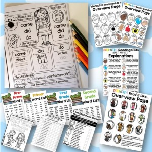 Sight word printables with a twist for Pre-Primer through Grade Two