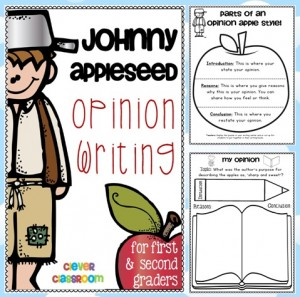 Johnny Appleseed Opinion Writing for First and Second Grade