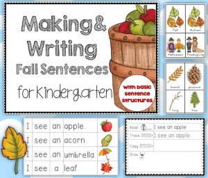 Making and Writing Fall Sentences for Kindergarten {vocab cards & sentence work}