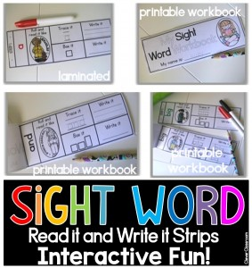 Sight word strips as centers or in black and white as printable booklets. STUDENTS LOVE USING THEM AS BOOKLETS.