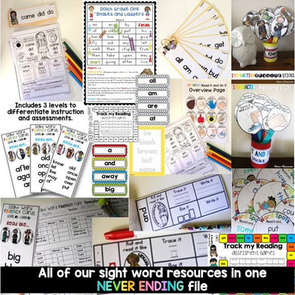 Sight Word Never Ending BUNDLE for K-2 students