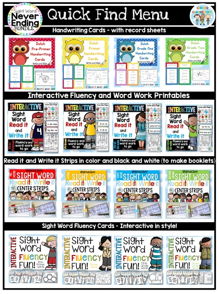 Sight Word Never Ending BUNDLE growing bundle, new additions are free