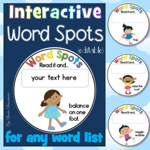 Interactive Word Spots for any Word List Front Cover Image clever Classroom TpT