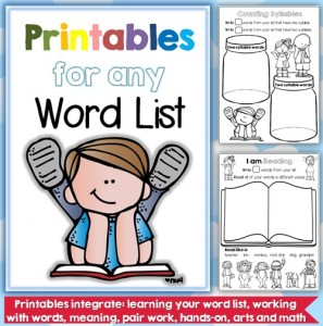 Printables for any Word List Front Cover Image