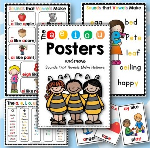 The a e i o u Posters Sounds that Vowels Make Helpers Front Cover Image