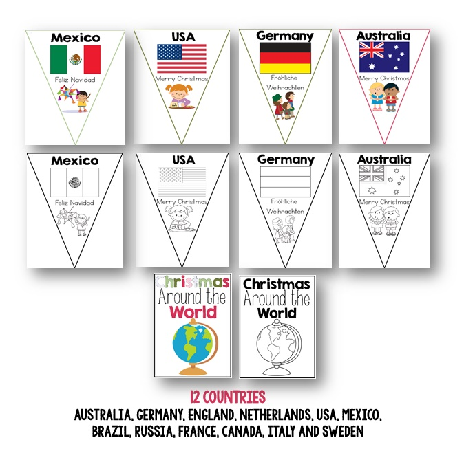 Christmas Around The World Craft Ideas Part - 27: Christmas Around The World Activities Bundle. Christmas Around The World  Bunting And A HUGE Unit For K-2