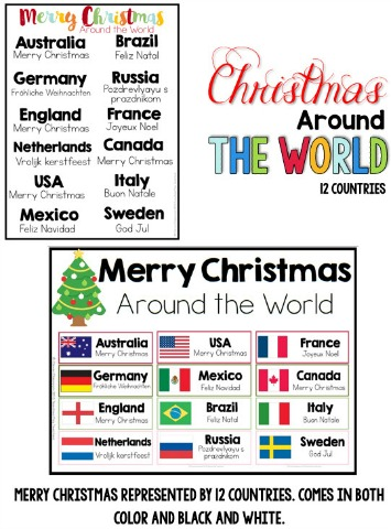Christmas around the world cards, posters differentiated passages, craft, reading and more