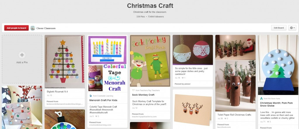 Christmas Craft Pinterest Board and Christmas card ideas for students