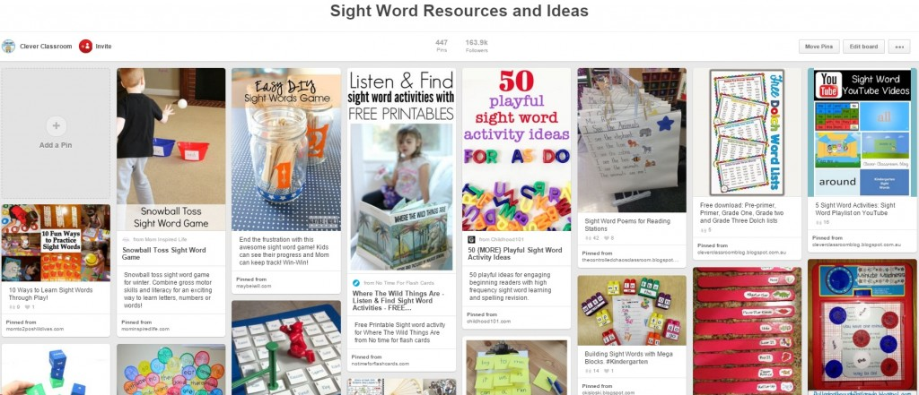 Sight Word Pinterest Board Clever Classroom