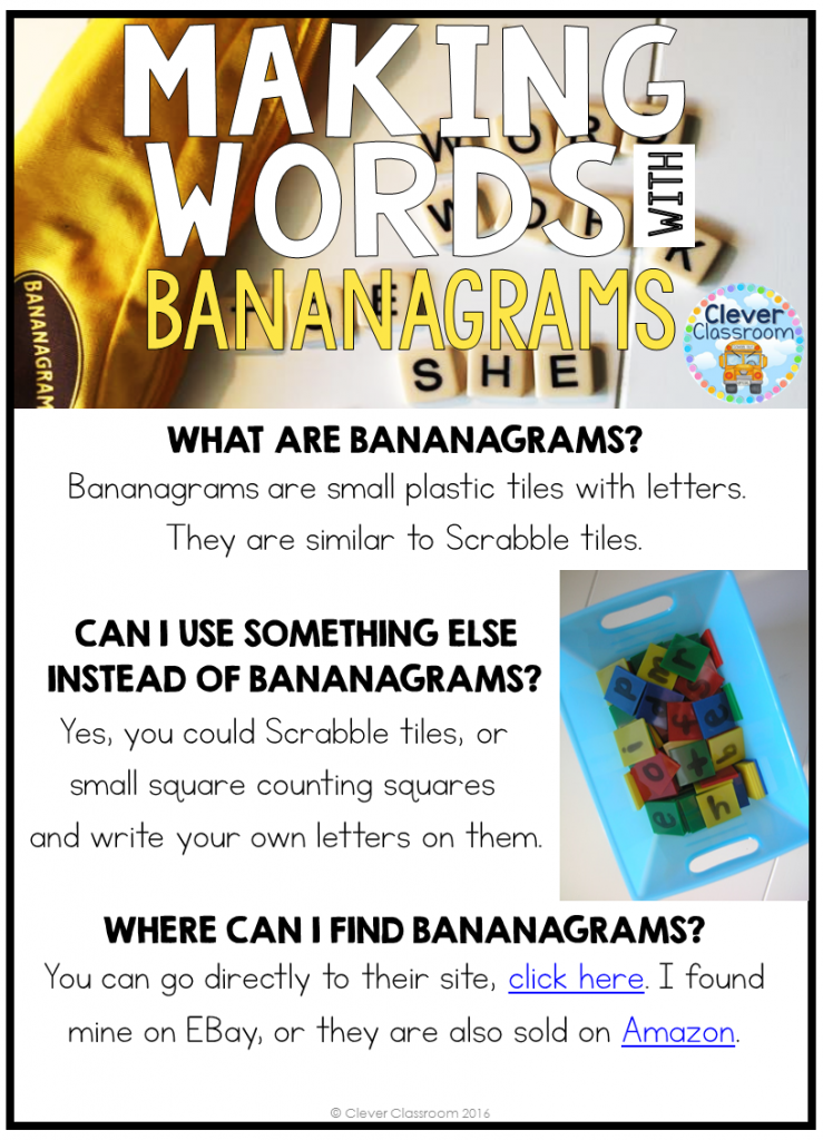 Bananagram activities