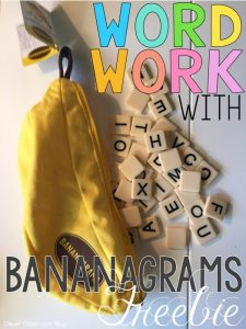 word work freebie using Bananagrams