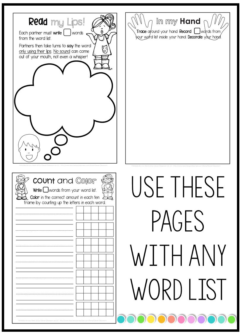 list slide3 word work free download