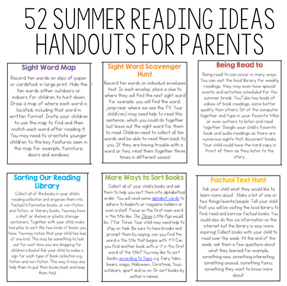 Summer Reading Activities for the Home
