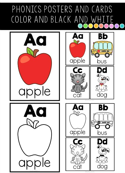 Phonics posters in both color and black and white, in 4 different designs, for ten different spelling patterns