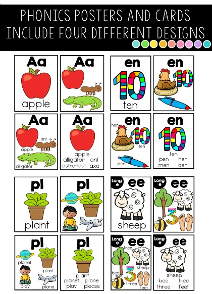 Phonics cards in different designs