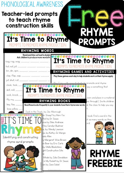 Rhyme FREEBIE Identify and construct rhyme prompts