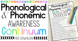 Phonological and Phonemic Awareness continuum overview free download via Clever Classroom