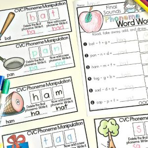 Phoneme manipulation cardsto build phonemic awareness skills and a freebie