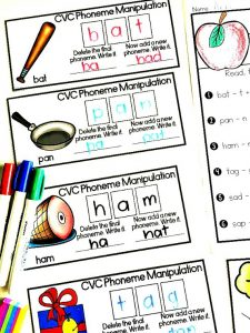 CVC Phoneme manipulation cards to work on phonemic awareness skills, and a freebie