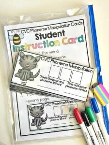 Phoneme manipulation center cards to work on phonemic awareness skills, PLUS a free download