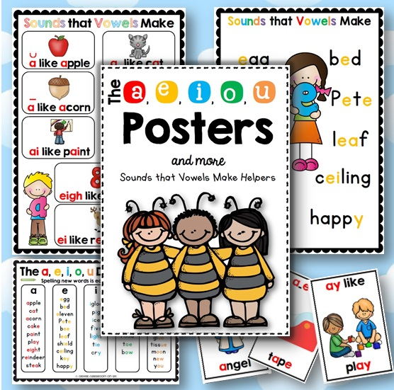 Vowel posters and charts to help students spell and read the tricky letter combinations that represent vowels