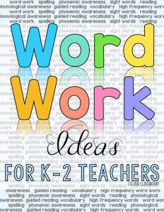 Word work ideas for teachers